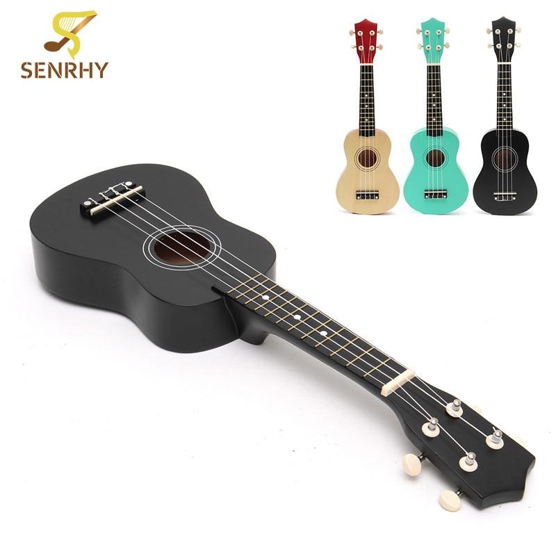 SENRHY 21 Economic Soprano Ukulele Uke Black / Mint green / Wood Color Basswood Nylon String Ukelele Musical Instrument Kit