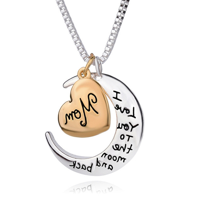 2018 i love you to the moon and back mom heart pendant necklace for 2018 i love you to the moon and back mom heart pendant necklace for mother day mozeypictures Image collections