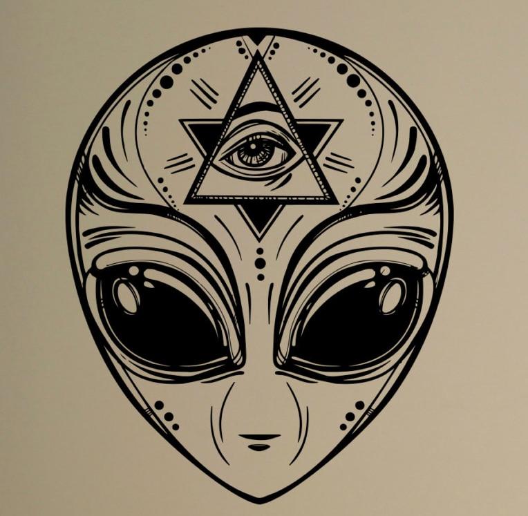 Alien Face Wall Decal Ufo Sci Fi Vinyl Sticker Masonic