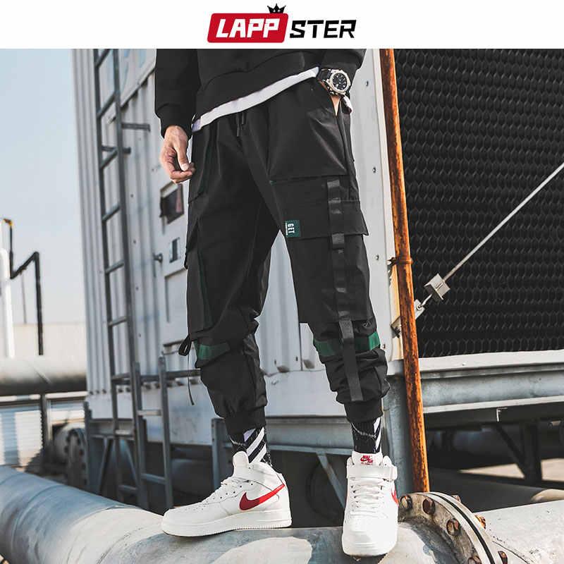 LAPPSTER erkekler şeritler Streetwear kargo pantolon 2019 sonbahar Hip Hop Joggers pantolon tulum siyah moda Baggy cepler pantolon