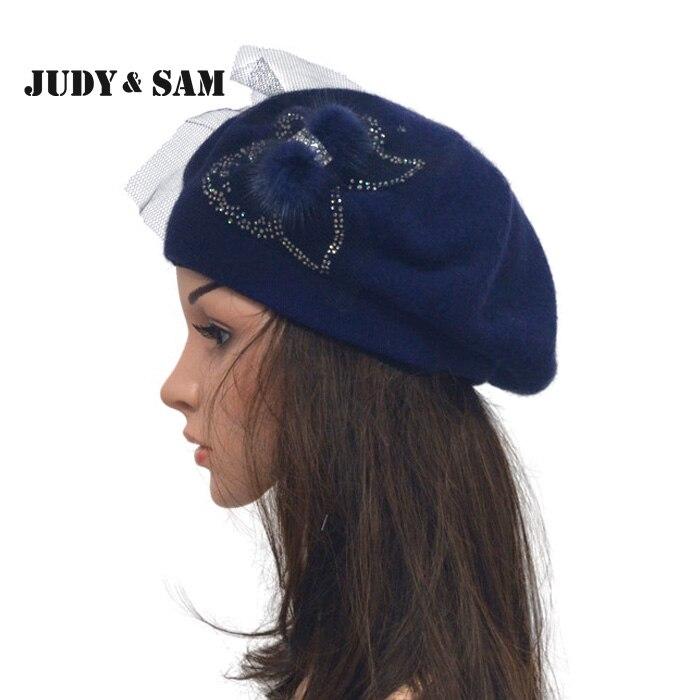 Vintage Angora Blend Women Beret Hat Girls Caps 13 Color with Real Mink Fur Flower Bow тени для век essence тени хайлайтер hi lighting eyeshadow mousse 02 цвет 02 hi peaches variant hex name f9c4af
