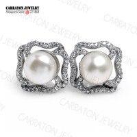 8mm Freshwater Pearl Real 925 Sterling Silver Jewellery Full CZ Elegant Quatrefoil Stud Earrings