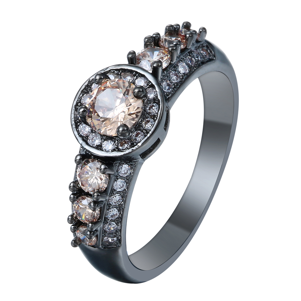Champagne Stone Vintage Black Gun Promise Rings Fashion Jewelry Gift  Princess Czech Zircon Engagement Ring For