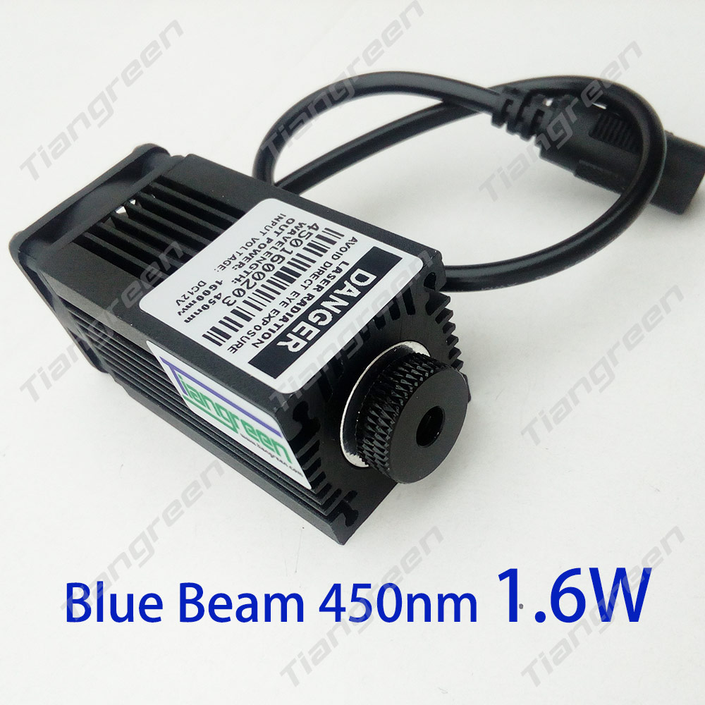 High Power 445nm/450nm 1600mW Blue Light Laser Module with Holder Heat sink for MIni Laser Engraving Machine