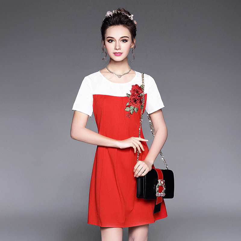 2017 Dames O Femmes Roses Fleurs Robe ligne De Maille Patchwork A Taille Mode D'été Aofuli cou Robes Plus La Broderie b6yf7g