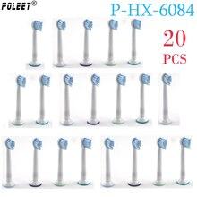 Poleet 20 шт./лот Сменная головка электрической зубной щетки головка P-HX-6084 HX6084 для Philips Чувствительная зубная щетка головки детские мягкие щетинки