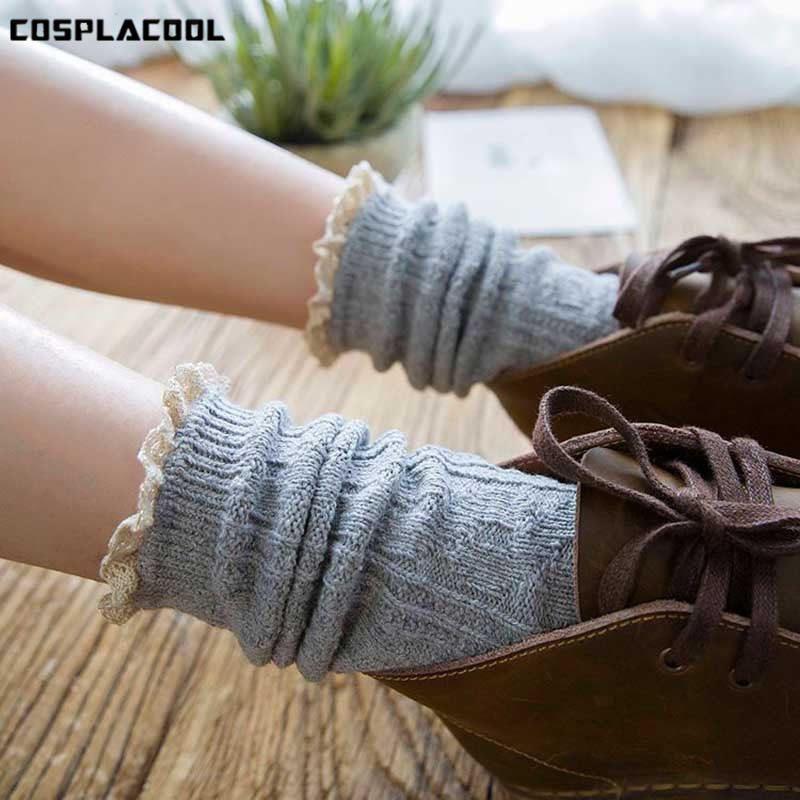 [COSPLACOOL]Heap Heap Lace Design Hollow Out   Socks   Women Solid Cute Candy Color Meias Harajuku Reto Creative Calcetines Mujer