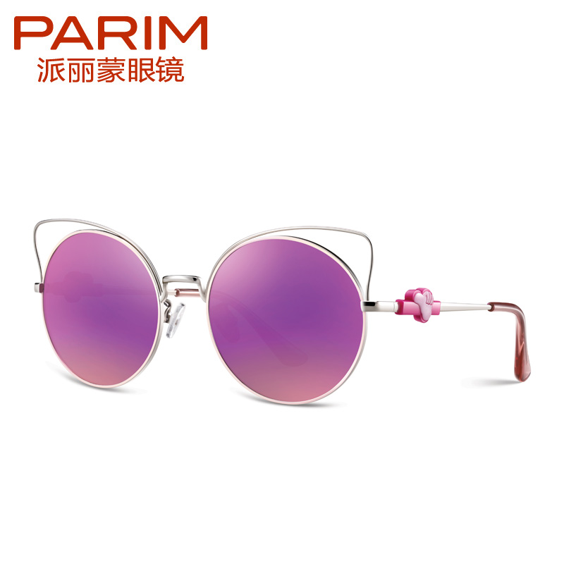 PARIM Cat Eye Kids Sunglasses with Fashion Round Frame Polarized Mirror Girls Children Eyewear Glasses 2016 new retro fashion matte frame glasses brand men woemn designer oculos de sol cute round sunglasses n65