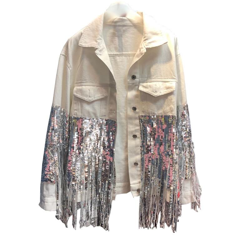 2019 Fashion Punk Sequins Beading Tassels Women Denim Coat Cool Streetwear Female White Denim Jacket Fashion