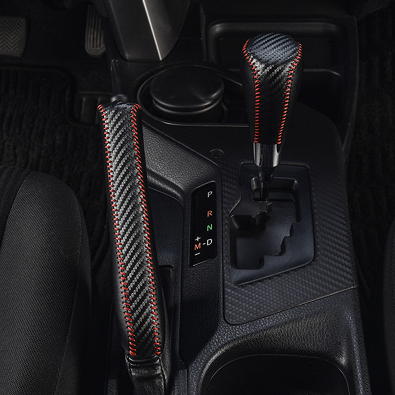 Carbon Line Leather Gear Shift Collars Cover For Toyota Rav4 2014