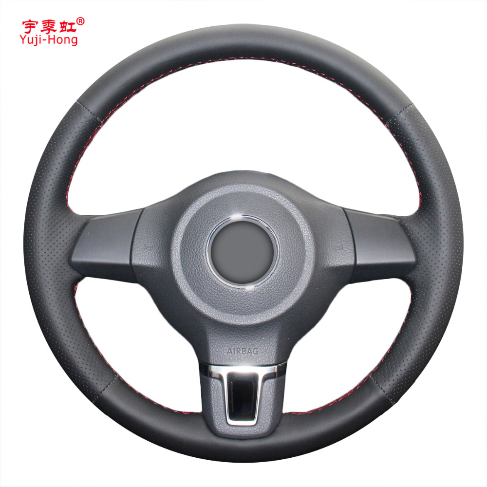 Yuji-Hong Artificial Leather Car Steering Wheel Cover Case for Volkswagen VW Golf 6 Santana Jetta Polo Bora Touran Hand-stitched special hand stitched black leather steering wheel cover for vw golf 7 polo 2014 2015