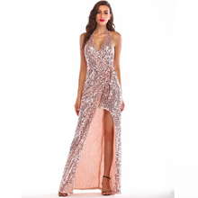 Womens Sequins Long Dress Halter Sexy Robe Bohemian Style Elegant Evening Party