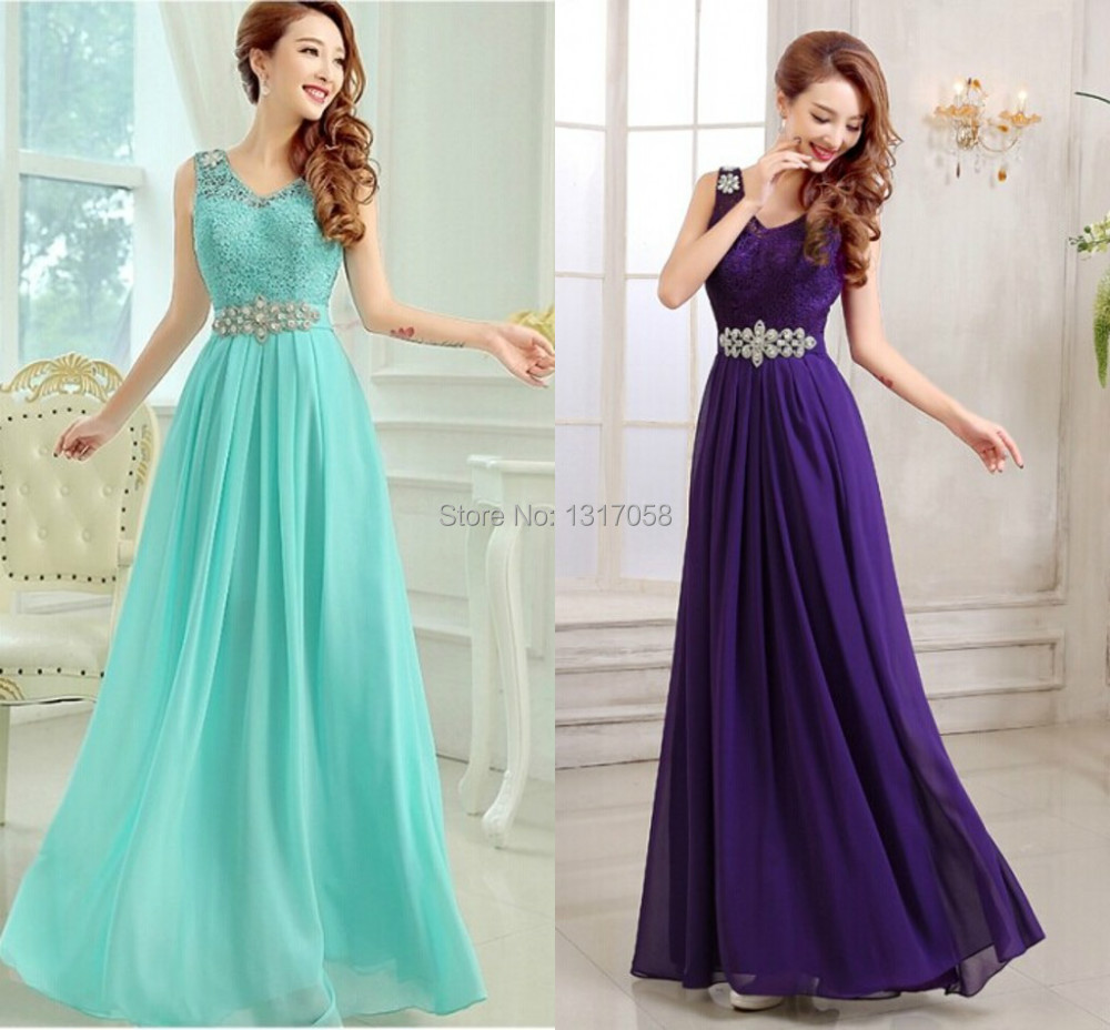 Stock China Long Prom Dressses Cheap Turquoise Income Chiffon ...