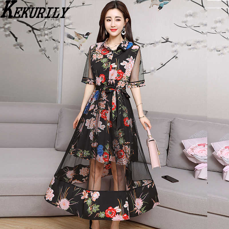 3adfa3eb4fc9c Trendy dresses 2018 women trend Chinese vintage elegant dress sexy see  through summer runway print floral