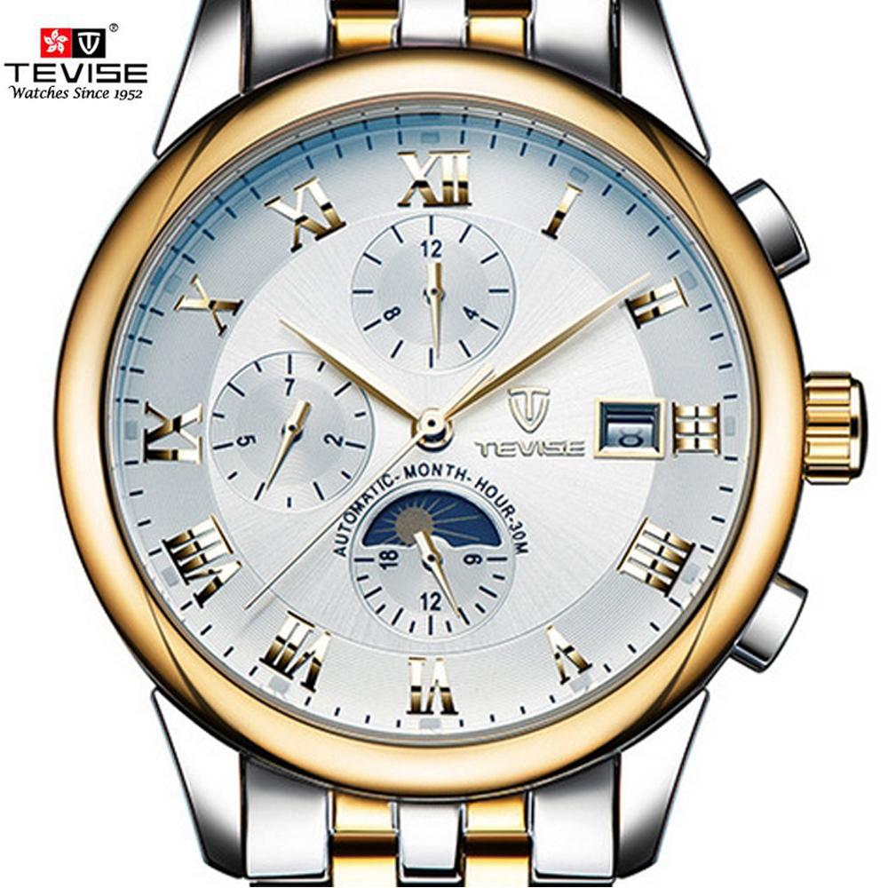 Prix pour Tevise automatique mécanique montres à remontage automatique hommes montre sport marque de luxe lune phase mois semaine montre-bracelet relogio masculino
