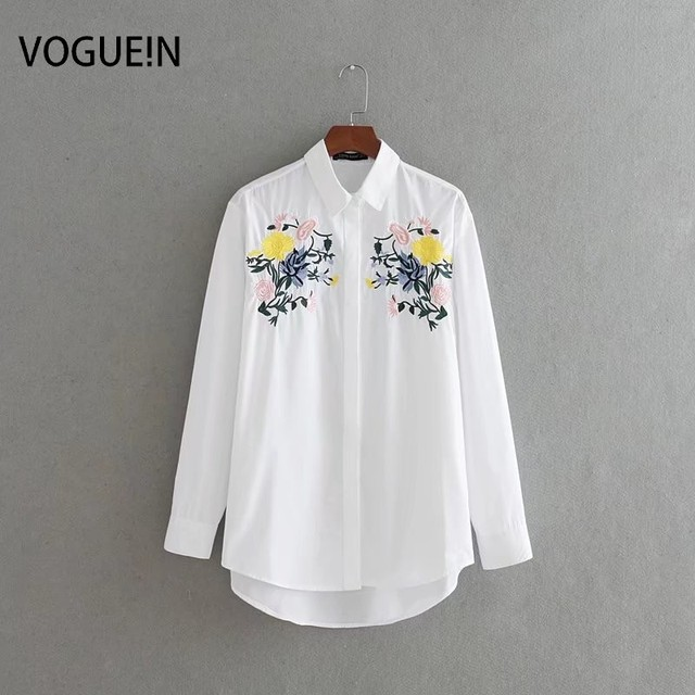 d9fcff3a VOGUEIN New Womens Floral Embroidered Long Sleeve White Button Down Shirt  Blouse Tops Size SML Wholesale