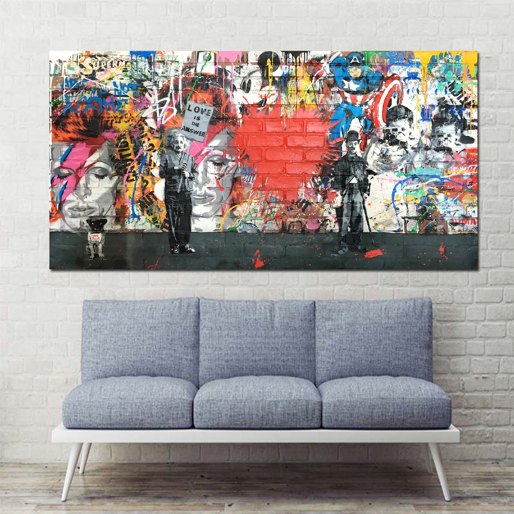 xdr413 Canvas Art Love Is The Answer Wall Art Graffiti Einstein Holding a Sign Colorful Canvas & xdr413 Canvas Art Love Is The Answer Wall Art Graffiti Einstein ...