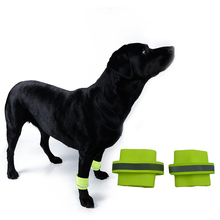 2PCS Dog Wrist Band Reflective Breathable Outdoor Safety Leg Wraps Glow In The Dark Walking Legs Bands Visibility Pet Supplies