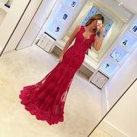 AE3105 Red Appliques Lace Evening Dress Sleeveless Mermaid Party Dress Elegant Women Long Dresses Formal Gown
