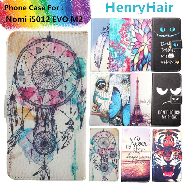 Top Selling 11 Colors Cartoon Painting PU Leather Magnetic clasp Wallet Cover For Nomi i5012 EVO M2 Case