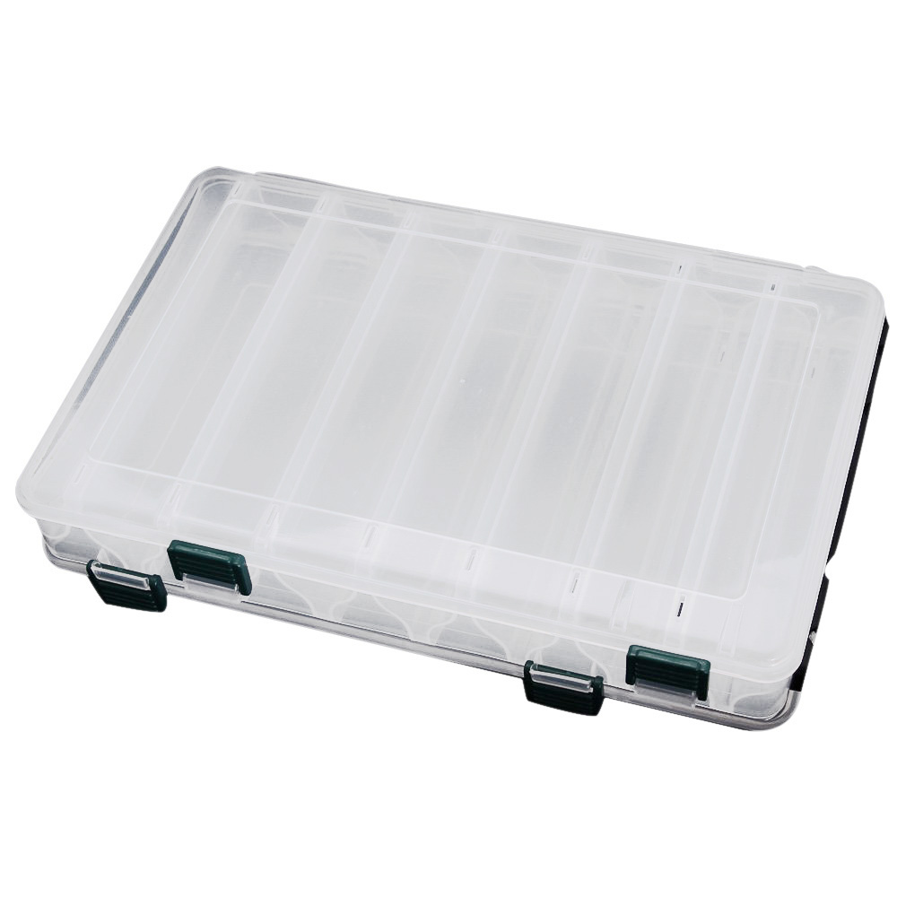 27*18*4.7CM Double Sided High Strength Transparent Visible Plastic outdoor Fishing Lure Box 14 Compartments Fishing Tackle