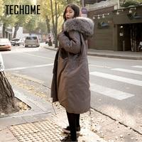 Women Winter Hooded Warm Coat Loose Plus Size 2XL Solid Color Cotton Parka Jacket Women Long Winter Coat Women Jaqueta Feminina