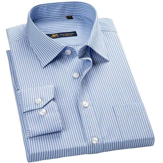 عالية الجودة جديد الصيف/الربيع حجم كبير S ~ 5xl طويلة الأكمام مخطط الرجال فستان قمصان منتظم صالح غير الحديد سهلة الرعاية