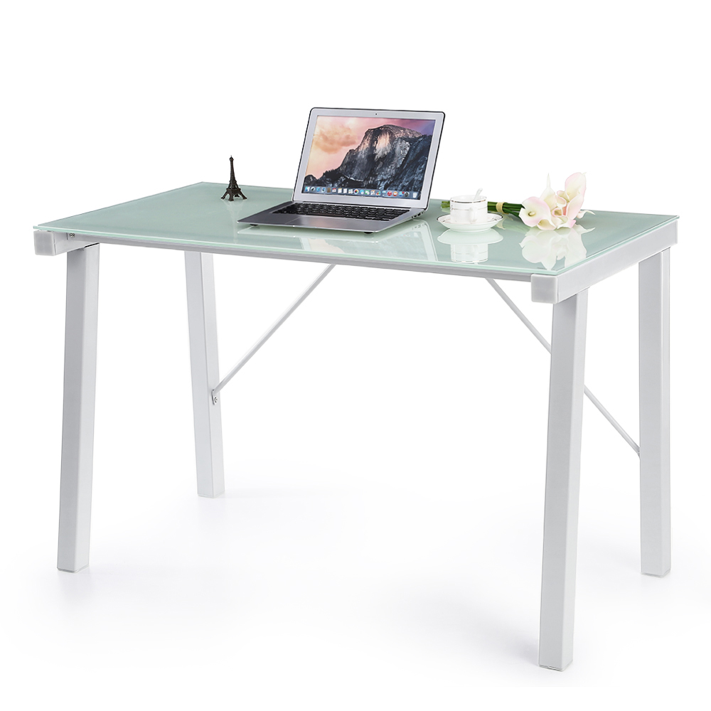Simple modern computer table - Ikayaa Computer Desk Table Pc Laptop Office Workstation Tempered Glass Top 120kg Load Capacity Home Office