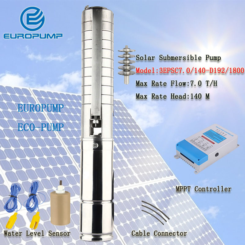 EUROPUMP MODEL(3EPSC7.0/140-D192/1800) new High flow rate Stainless Steel impeller bore hole DC 192v solar submersible pump free shipping dc 380v 11000w big power solar energy water pump stainless steel impeller 6spsc33 187 d380 11000