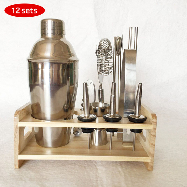 Stainless Steel Professional Bartender Set 250 350 550 750ml Bar Tools With Wooden