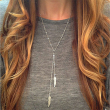 Fashion Necklaces For Women 2016 Gold Chain Elegant Double Feather Necklaces & Pendants Long Necklace Female Jewelry O-193