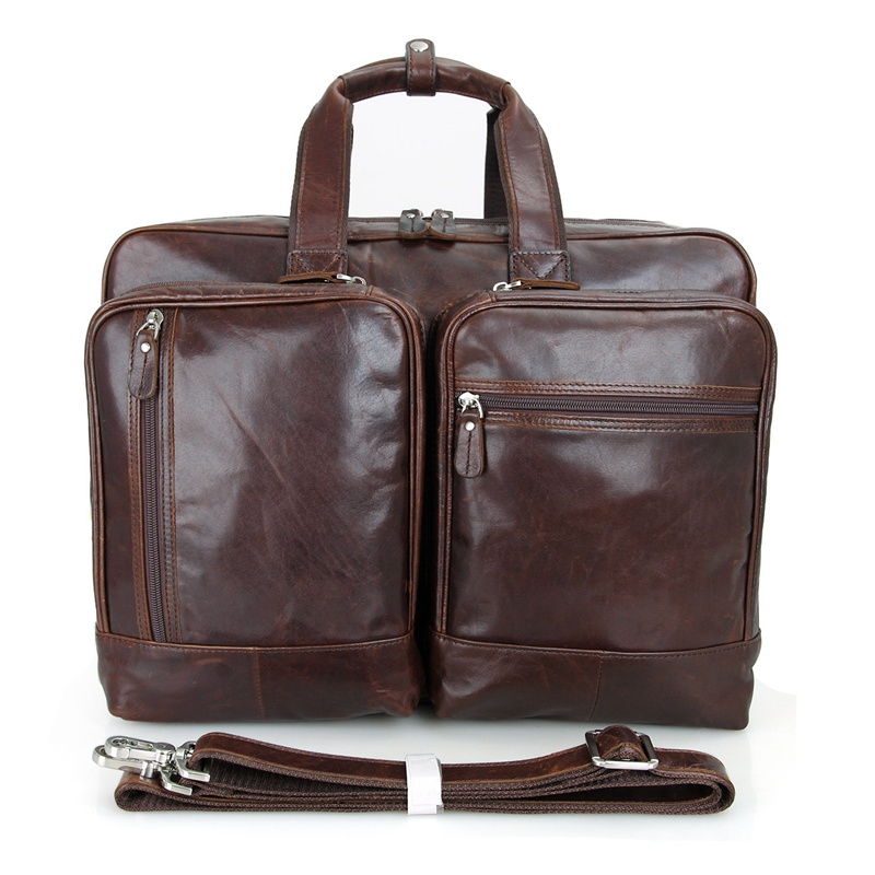 J.M.D Hot Selling Genuine Cow Leather Men's Laptop Bag Briefcases Large Capacity Messenger Bag 7343C
