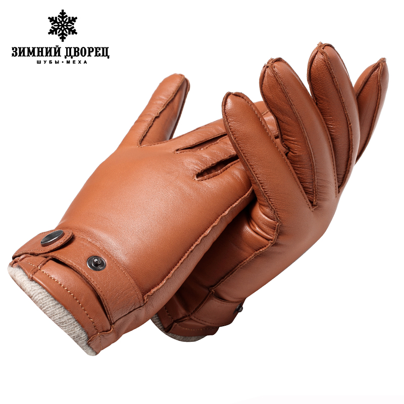 Genuine Ieather mittens  Top Grade gIoves male Fashion Ieather gIoves Vintage driving gIoves warm gIoves winter Brown lambskin
