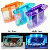 Acrylic 3 Splits Aquarium Betta Fish Bowl Led Light Aquarium Incubator Hatchery Breeding Box Fish Tank Turtle Reptile House