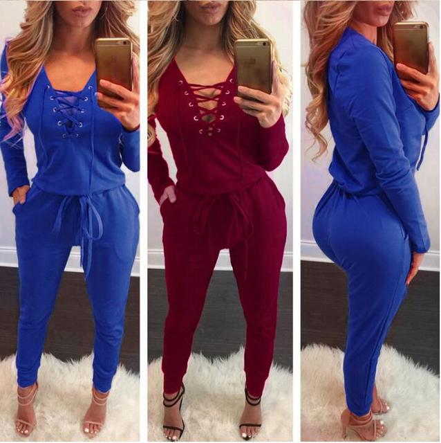 294800e2026 Jumpsuit Women 2018 Autumn Winter Bodycon Bandage Deep V Neck Rompers  Overalls Sexy Bodysuit Slim Club Party