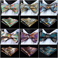 Paisley Floral Check Dot Men Woven Silk Wedding Self Bow Tie handkerchief Set#I5 Pocket Square Classic Party Wedding
