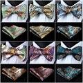 Paisley Floral Verifique Dot Tecido De Seda Do Casamento Dos Homens Auto Bow Tie Bolso Praça handkerchief Set # I5 Clássico Festa de Casamento