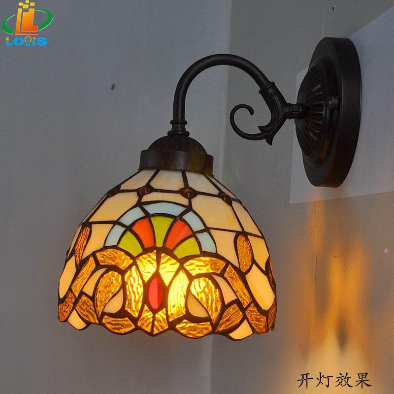 6 inches of European Baroque small bedside wall lamp Tiffany mirror front glass balcony Iron Lighting Antique Lamps Double tiffany baroque sunflower stained glass iron mermaid wall lamp indoor bedside lamps wall lights for home ac 110v 220v e27