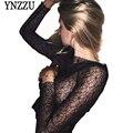 YNZZU 2017 New Spring Women Lace Shirt Sexy Black Slim Long Sleeve Lady Basic Blouse shirts Tops  Club Party Clothes YT181