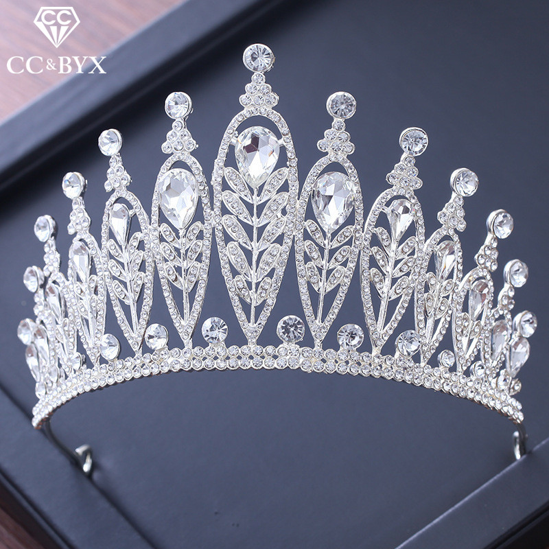 CC tiaras and crowns baroque style cz stone engagement wedding hair accessories for bride jewelry water drop leaf shape XY223