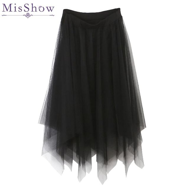 dbef3b211 Tulle Bottom Skirts Women Fashion Elastic High Waist mesh Tutu Skirt White  Black Gray long skirts