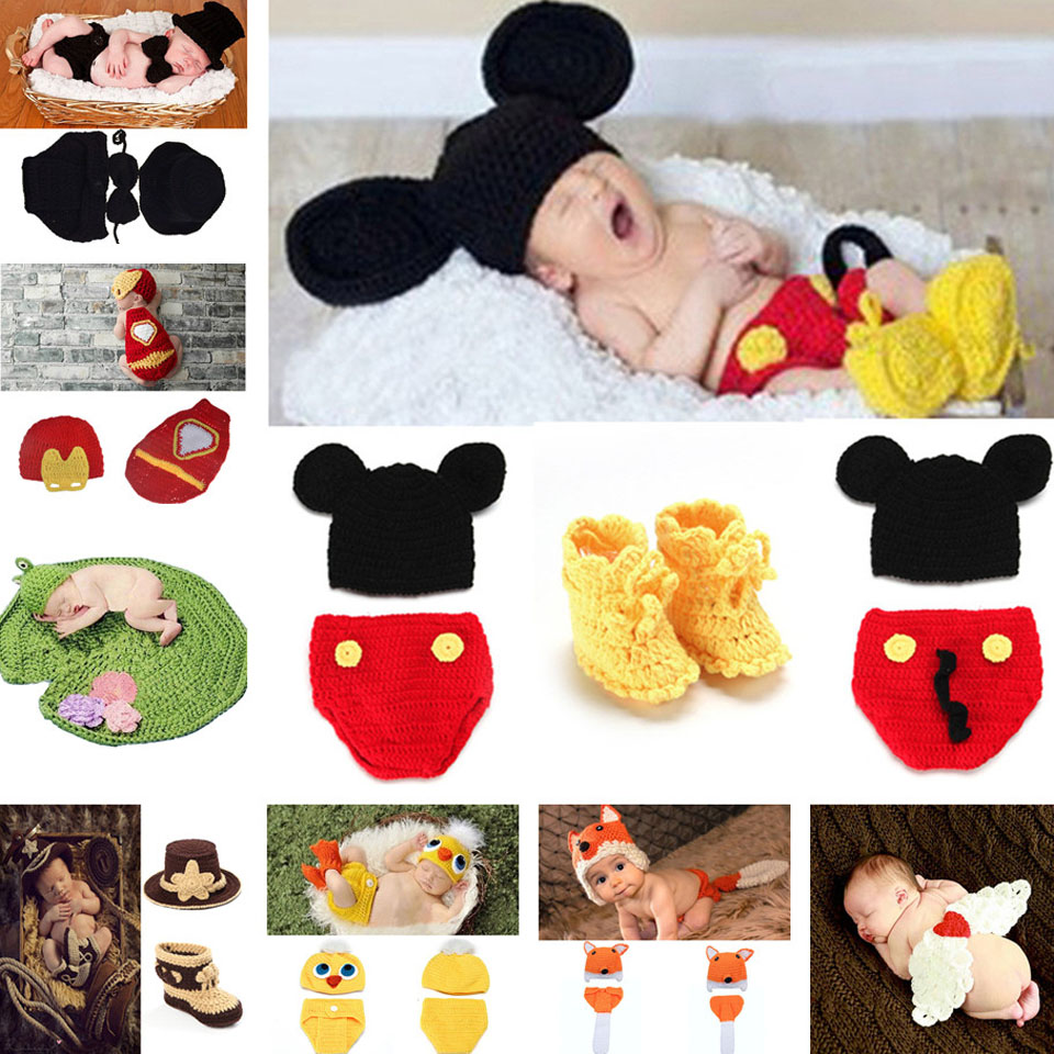 Cartoon Design Baby Crochet Photography Props Infant Crochet Mickey Hat Pants&Shoes Set Boy Handmade Costumes 1set MZS-14016