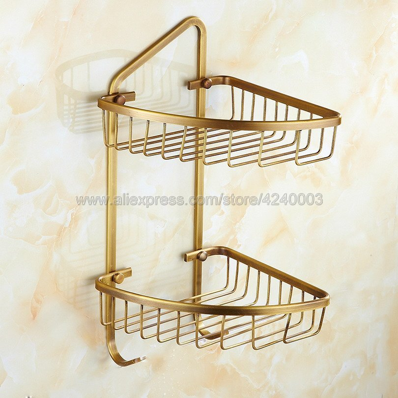 Bathroom Shelves Antique Brass 2 Tiers Corner Shelf Shower Caddy Storage Shampoo Basket Wall Kitchen Corner Sticky Holder Kba076 vehhe kitchen basket bathroom rack sector corner wall shelf plastic shower shampoo holder storage shelves multifunctions ve226