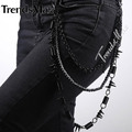 High Quality Mens Boys 3 Strands Rolo Biker Cord Coils Link Pants Chain Punk Jean Black Tone Metal Adjustable PC06