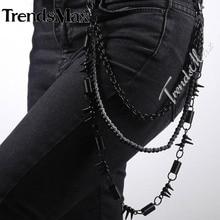 Alta Calidad Mens Boys 3 Hebras Pantalones de Ciclista de Bobinas de Cable de Enlace Rolo Cadena Punk Jean Metal Tono Negro Ajustable PC06