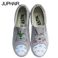 JUP Shoes Girl Cartoon Totoro Shoes Hand-painted Canvas Shoe for Men Males Mans Fashion Leisure Boys Man Fashion Minions Pattern
