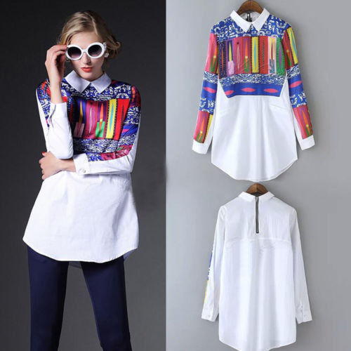 Aliexpress Spring All-match Explosion White Printing Long Sleeved Blouse Wj166 Vestidos Women's Clothing