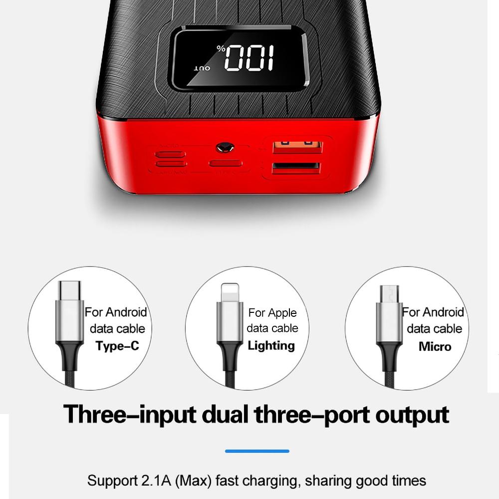 2USB светодиодный внешний аккумулятор 30000 мАч, портативная зарядка, внешний аккумулятор для iPhone, Xiaomi, samsung, huawei, Poverbank, внешний аккумулятор