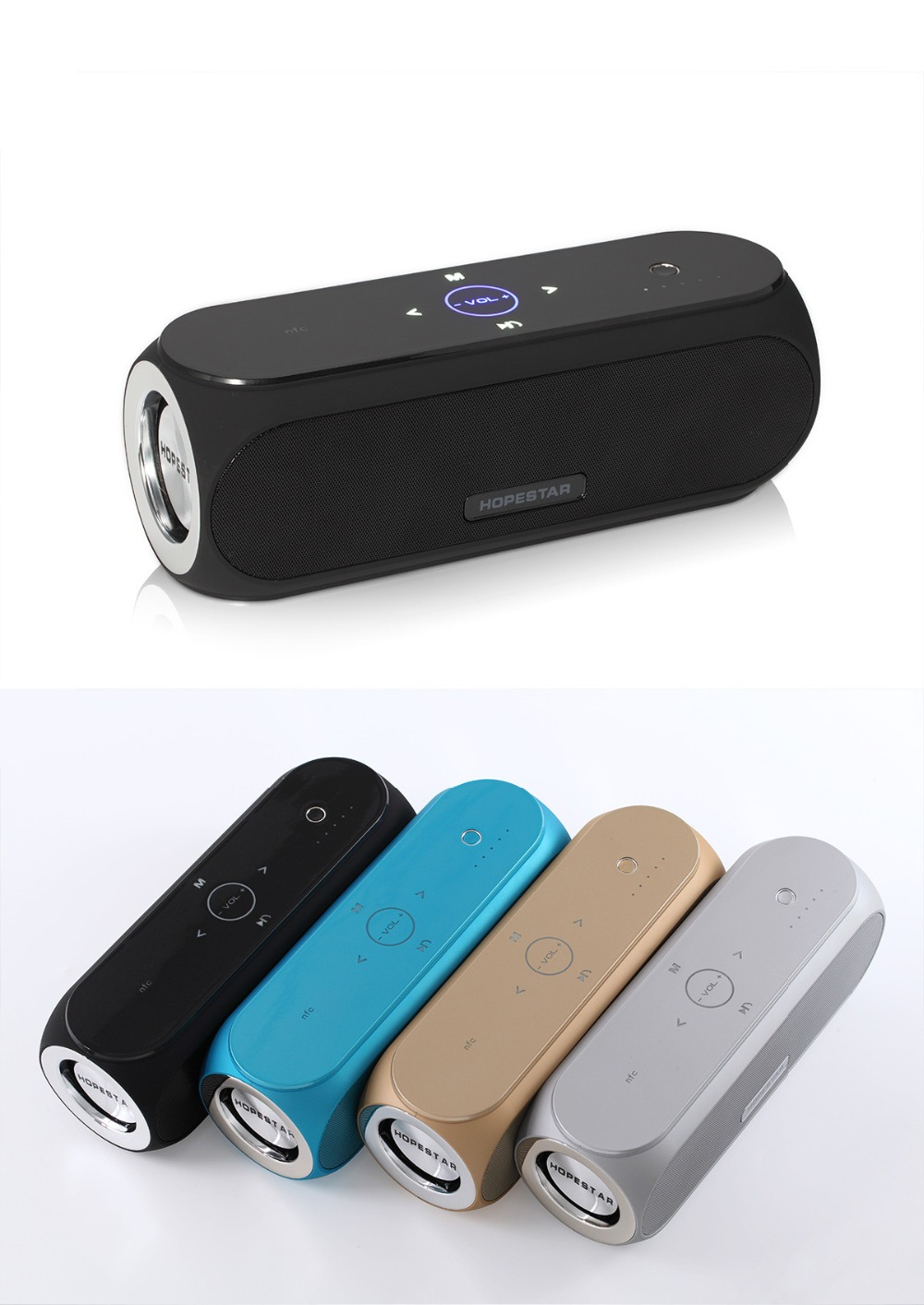 ФОТО 2017 New H9 Wireless Bluetooth Speaker Bass Sound System 3D Stereo Music Surround Support NFC TF card AUX USB For iPhone Android