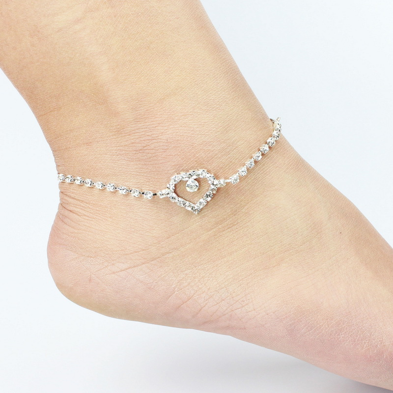 Lover Heart Anklet Foot Jewelry Rose Gold Titanium Steel Fashion Foot Chain Jewelry for Women Wholesale Price